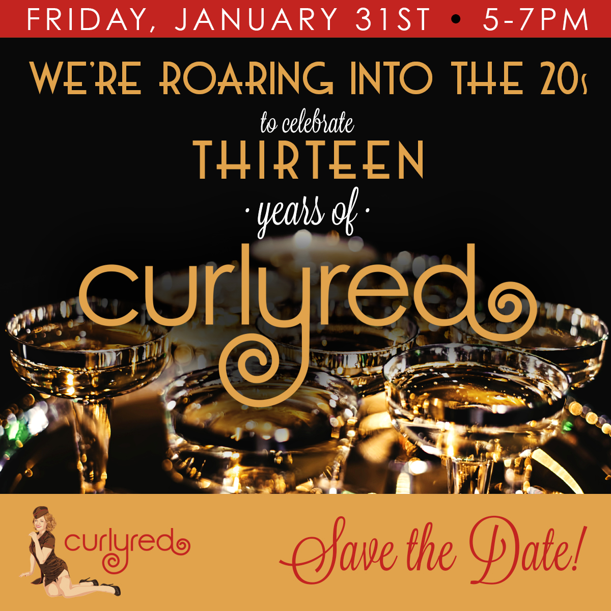 CurlyRed Save the Date